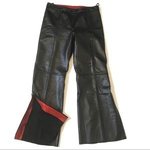 Danier leather pants with zippered side slits